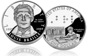 2009 Louis Braille Silver Dollar Proof Coin